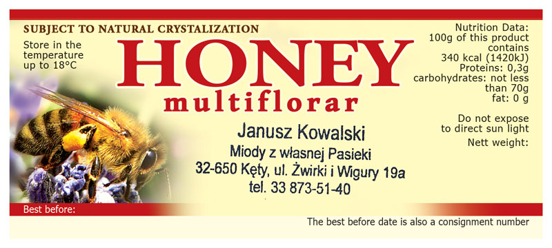 Label Honey multifloral